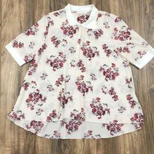 Nanette Lepore Tops - Nanette Lepore Short Sleeve Trapeze Floral Polo